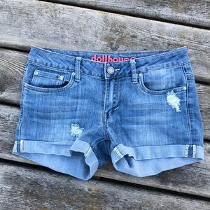 Dollhouse Distressed Denim Shorts